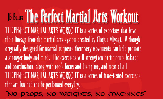 THE PERFECT MARTIAL ARTS WORKOUT is a series of exercises that have their lineage from the martial arts system created by Chojun Miyagi.  Although originally designed for martial purposes their very movements can help promote a stronger body and mind.  The exercises will strengthen participants balance and coordination, along with one's focus and discipline, and most of all THE PERFECT MARTIAL ARTS WORKOUT is a series of time-tested exercises that are fun and can be performed everyday.